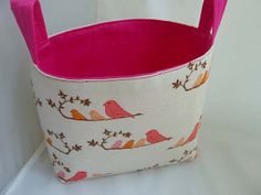 Fabric Storage Bin Tote or Organizer in Mama Bird Print by BagsOfaFeather, $21.00