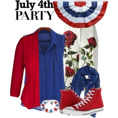 hijab outfit for 4th July by mecca-up on Polyvore featuring polyvore fashion style Dolce&Gabbana Converse Humble Chic 4thjuly