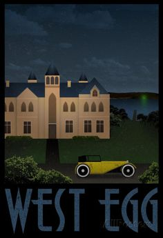 West Egg Retro Travel Poster Poster Print, 13x19 #DoesnotApply      please frame this with matting and hang on the wall in the foyer