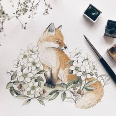A dash of spring on my studio desk today 🦊 I knew I had to draw hellebores. me and my friend went on a short hike the other day & they… Art And Illustration, Illustrations, Animal Drawings, Cute Drawings, Cute Fox Drawing, Hase Tattoos, Fox Tattoos, Deer Tattoo, Raven Tattoo