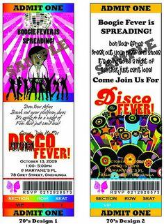70's DISCO PARTY TICKET THEME