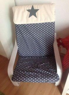 IKEA-POANG-Sessel-weiss-gestrichen-Sternenstoff-grau