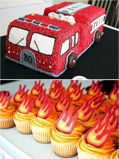 When you've got a little one in the house that loves Fire Trucks. This Fire Engine Cake with little Flame Cupcakes could be perfect for the next big birthday Easy Kids Birthday Cakes, Truck Birthday Cakes, Truck Cakes, Novelty Birthday Cakes, Novelty Cakes, Dessert Party, Party Desserts, Party Cakes, Fire Engine Cake