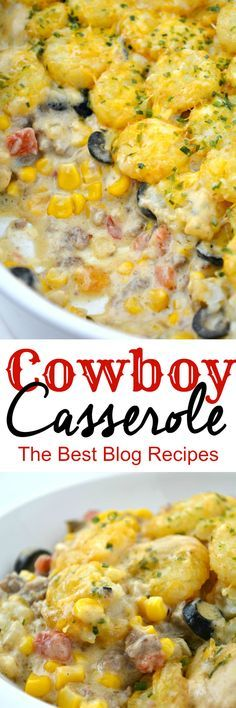 Cowboy Casserole Recipe With Ground Beef _ It's beefy, cheesy, corn-y, tator tot goodness will leave anyone wanting more! I left out olives and added taco seasoning to beef. Great Recipes, Dinner Recipes, Favorite Recipes, Recipe Ideas, Diy Recipe, Appetizer Recipes, Dinner Ideas, Breakfast Recipes, Beef Dishes