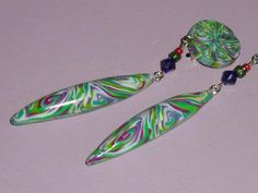 Ohrclips - Extra lange Ohrclips violett-grün - ein Designerstück von iCo-Design bei DaWanda