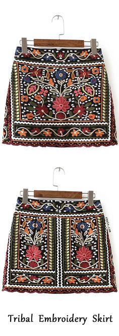 Multicolor Tribal Embroidery Vintage Skirt