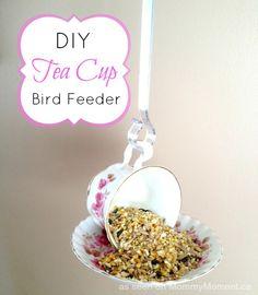 Tea cup bird feeder ~ need a tea cup & saucer+ strong glue+ bird seed+ ( optional ) a gutter hanger from the dollar store.