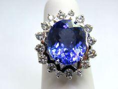 Large Tanzanite 9.00ct. & Diamonds 1.50ct.18k. White Gold Ring Size M 1/2