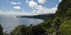 Hana Highway, Hawaii travels along Maui's coastline and consists of 620 sharp turns and 59 bridges