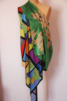 """Istra en pop Art"" long silk scarf, and ""Kotelnicheskaya vert""  standard silk scarf , both inspired by Moscow architecture"