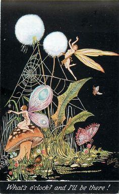 ≍ Nature's Fairy Nymphs ≍ magical elves, sprites, pixies and winged woodland faeries - Alice Marshall ~ vintage Oilette postcard Alphonse Mucha, Fantasy Kunst, Fantasy Art, Kobold, Photo D Art, Vintage Fairies, Fairytale Art, Beautiful Fairies, Flower Fairies