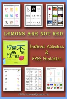 FREE Printables of games, activities, and worksheets with total of 6 versions {Chinese, Pinyin, and English}. Perfect for teaching little kids about COLORS! http://fortunecookiemom.com/2016/08/lemons-are-not-red/