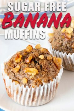 These banana muffins are sugar free and make and great healthy snack! The recipe is easy and makes the best moist muffins using whole wheat flour, cottage cheese, and applesauce. #bananabread #banana #sugarfree #sugarfreechallenge #applesaucecake