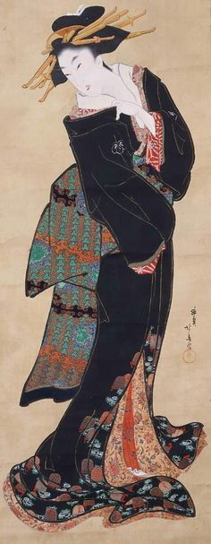 Standing courtesan. Hanging scroll; ink and color on silk. Circa 1804-1818, Japan, by artist Teisai Hokuba. MFA (William Sturgis Bigelow Collection)