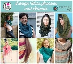 Fabulous crochet patterns for Shawls, Scarves, and Cowls from Design Wars at www.thecrochetcafe.com
