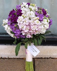 This gorgeous bouquet is made from varying shades of stock - from white to dark purple. Stock is available for the most part year-round at GrowersBox.com!
