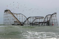 The remnants of the Jet Star roller-coaster in the ocean, almost five months after Superstorm Sandy, Seaside Heights, New Jersey  Photo credit: Lucas Jackson/Reuters