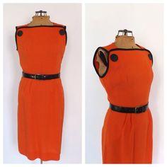 Vintage 1960s Mod Mini Tank Dress Orange Black GoGo Dancer Babydoll Linen Dress Retro Size Small Medium 60s Twiggy Scooter Dress Kitsch