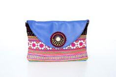 Genuine leather vintage embroidered fabric clutch #ethniclanna #vintagefabric #leatherbags #clutches #vintagebags