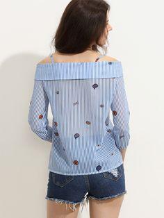 Blue Striped Cartoon Print Cold Shoulder Fold Over Blouse
