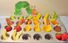 healthy graduation theme snack | Muffin tin snack- caterpillar style from The Masked Mommy
