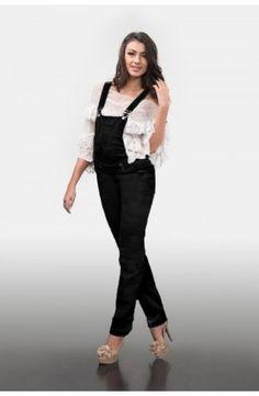 Salopetă neagră din raiat Overalls, Pants, Fashion, Moda, Trousers, Women Pants, Fasion, Women's Pants, Work Attire