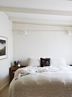 change up the bedding to more texture. loooove that bed