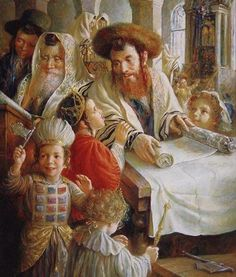 Flerova -Purim- Jewish Art Oil Painting - Judaica Art Oil Paintings ...