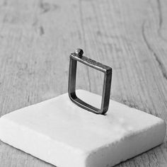 Sterling Silver Square Ring Black Oxidized Ring by SunSanJewelry