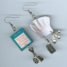 Chef's earrings vintage cookbook chefs hat by DesignsByAnnette