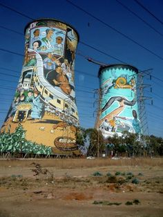 Johannesburg, South Africa  Very large and quite impressive painted towers.