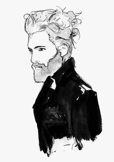 HIM AND HER - PORTFOLIO watercolour illustration man bun beard, fashion illustration