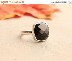 Black onyx ring  Black ring  Square ring  Faceted by Studio1980