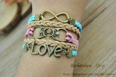 Retro bronze Love & Infinity charm braceletOwl charm by Richardwu, $5.50
