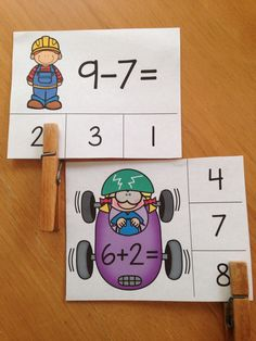 Fun way to practice addition & subtraction - clip cards! $