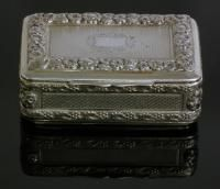Lot 466 SOLD FOR: £ 320  A George III silver rectangular snuff box, the lid and sides with cast floral and fruiting vine mounts and framing engine turned panels, 2.75ins x 1.75ins x 1.125ins high, by Pemberton & Mitchell, London 1817 (weight 3.5ozs)  Guide Price: £220-280