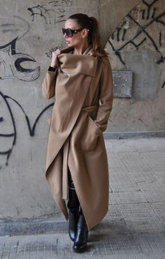 Woman Coat/Camel Women winter coat/Women Cape/Maxi coat/Women Cloak/Winter Cape/Wool Cashmere Coat/Loose fitting coat- Gorgeous Light Brown Cashmere Coat with. Capes For Women, Clothes For Women, Asymmetrical Coat, Maxi Coat, Coat Dress, Cashmere Coat, Camel Coat, Mode Hijab, Winter Coats Women