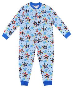 Boys Lightweight Blue Cotton Character Onesie Pyjama Thomas the Tank