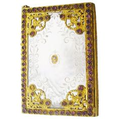 """Gorgeous and RARE  Palais Royal Jeweled Mother of Pearl Necessaire, Carnet du Bal or Aide Memoire  """"PANSY"""""""