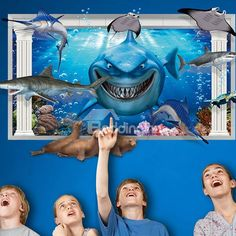 Amazing! Creative Shark 3D three-dimensional Wall Stickers