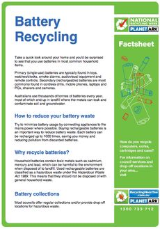 Find handy tips on recycling from the Planet Ark fact sheets found here