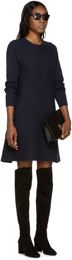 Proenza Schouler Navy Cashmere Sweater Dress