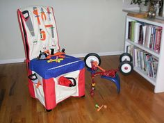 Children love play areas that stimulate their imagination. If your little ones enjoy working with tools and dreaming up projects to build or fix, this workbench slipcover turns a straight-backed . Sewing For Kids, Baby Sewing, Diy For Kids, Gifts For Kids, Projects For Kids, Sewing Projects, Diy Projects, Kitchen Chair Covers, Kids Workbench