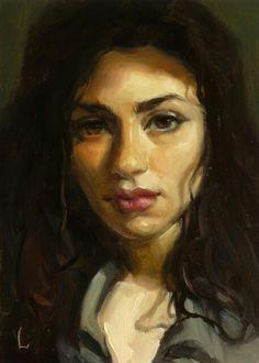 """Daily Paintworks - """"Shadow Veil - Original Fine Art for Sale - © John Larriva Digital Portrait, Portrait Art, John Larriva, Hippie Art, Portraits, Fine Art Gallery, Figure Painting, Face Art, Figurative Art"""