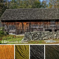 'Stone and Barn' color palette featuring our HIGHLAND yarn in Foliage, Tundra, Charcoal and Walnut.