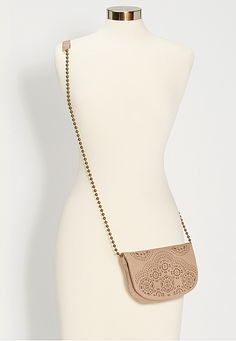 crossbody bag with laser cut design and beaded strap - maurices.com