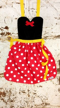 MINNIE MOUSE costume APRON. Disney inspired. Dress up. play. Fits 12-24 mo, 2t, 3t, 4, 5, 6, 7, 8, 9, 10, 12. Toddler, Baby, Girls. Dress up on Etsy, $23.99