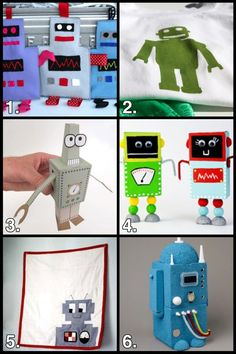 Geek Crafts: Robot Craft Roundup My son is going to love the little crinkle robots.  So easy to make!