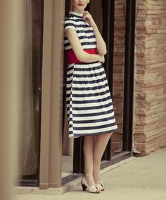 Take a look at this Shabby Apple Navy Stripe Racquet Club Dress on zulily today!