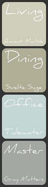 I love all of these colors! Would be perfect for the new house!